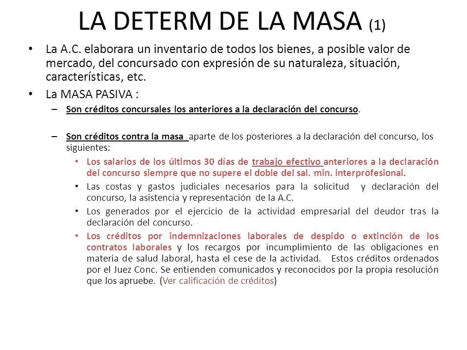 LA DETERM DE LA MASA (1) La A.C. elaborara un inventario de todos los bienes, a posible valor de mercado, del concursado con expresión de su naturalez