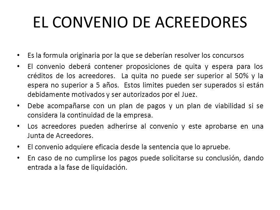 EL CONVENIO DE ACREEDORES Es la formula originaria por la que se deberían resolver los concursos El convenio deberá contener proposiciones de quita y