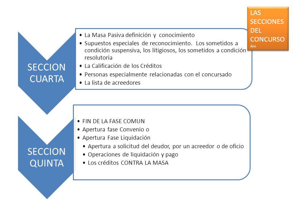SECCION CUARTA La Masa Pasiva definición y conocimiento Supuestos especiales de reconocimiento. Los sometidos a condición suspensiva, los litigiosos,