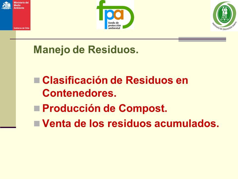 Manejo de Residuos. Clasificación de Residuos en Contenedores. Producción de Compost. Venta de los residuos acumulados.