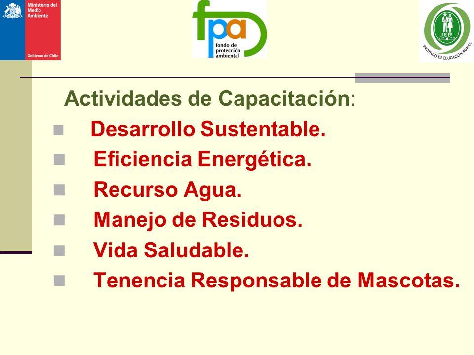 Actividades de Capacitación: Desarrollo Sustentable. Eficiencia Energética. Recurso Agua. Manejo de Residuos. Vida Saludable. Tenencia Responsable de