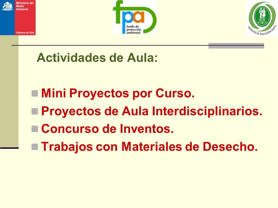Actividades de Aula: Mini Proyectos por Curso. Proyectos de Aula Interdisciplinarios. Concurso de Inventos. Trabajos con Materiales de Desecho.