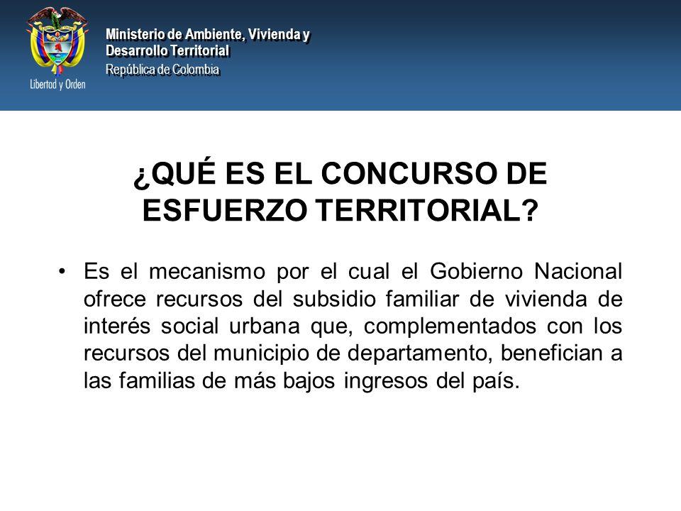 Ministerio de Ambiente, Vivienda y Desarrollo Territorial República de Colombia Ministerio de Ambiente, Vivienda y Desarrollo Territorial República de Colombia ¿QUÉ ES EL CONCURSO DE ESFUERZO TERRITORIAL.