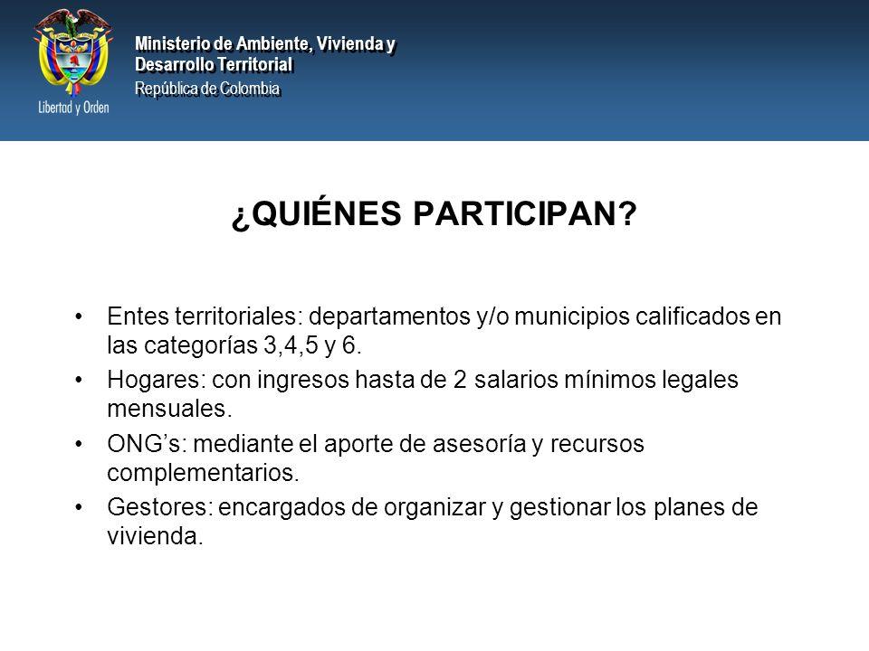 Ministerio de Ambiente, Vivienda y Desarrollo Territorial República de Colombia Ministerio de Ambiente, Vivienda y Desarrollo Territorial República de Colombia ¿QUIÉNES PARTICIPAN.