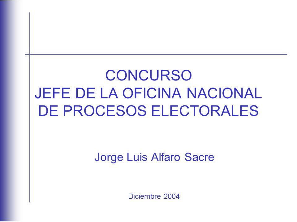 CONCURSO JEFE DE LA OFICINA NACIONAL DE PROCESOS ELECTORALES Jorge Luis Alfaro Sacre Diciembre 2004