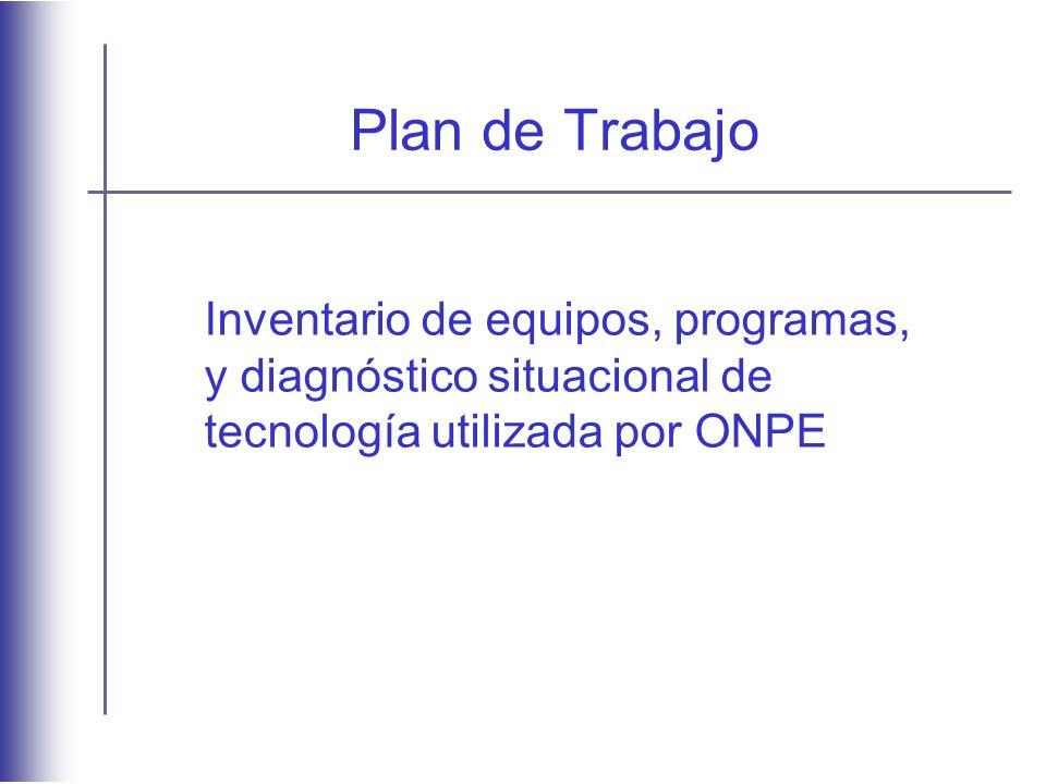 Plan de Trabajo Inventario de equipos, programas, y diagnóstico situacional de tecnología utilizada por ONPE