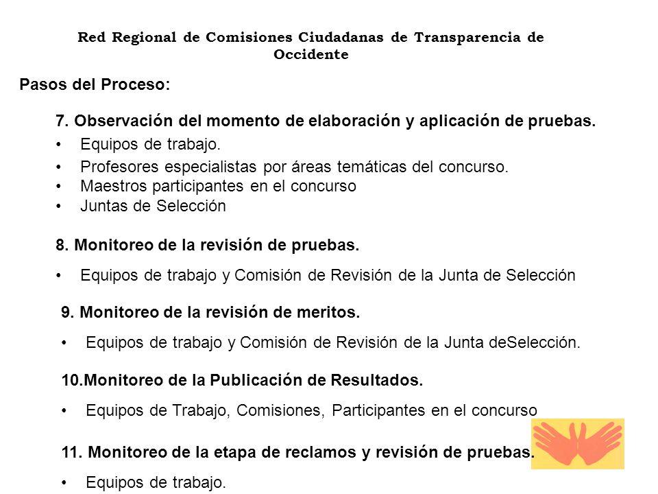 Red Regional de Comisiones Ciudadanas de Transparencia de Occidente Pasos del Proceso: 7. Observación del momento de elaboración y aplicación de prueb