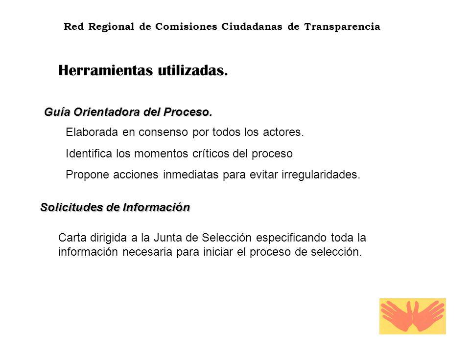 Red Regional de Comisiones Ciudadanas de Transparencia Herramientas utilizadas. Guía Orientadora del Proceso. Elaborada en consenso por todos los acto