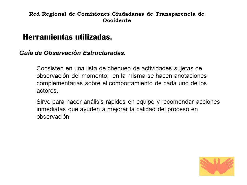 Red Regional de Comisiones Ciudadanas de Transparencia de Occidente Herramientas utilizadas. Guía de Observación Estructuradas. Consisten en una lista
