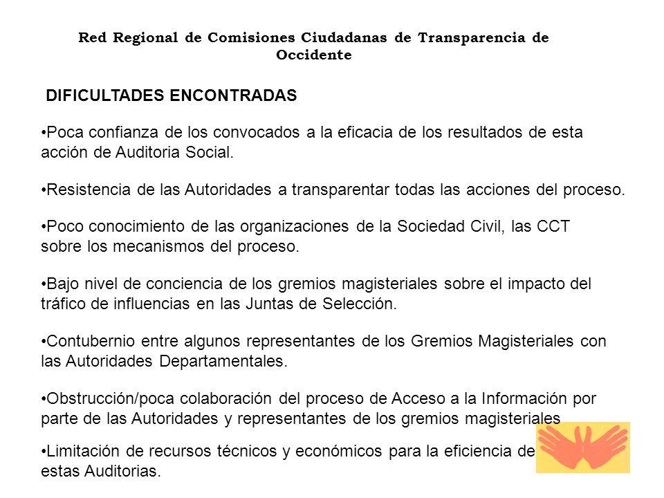 Red Regional de Comisiones Ciudadanas de Transparencia de Occidente DIFICULTADES ENCONTRADAS Poca confianza de los convocados a la eficacia de los resultados de esta acción de Auditoria Social.