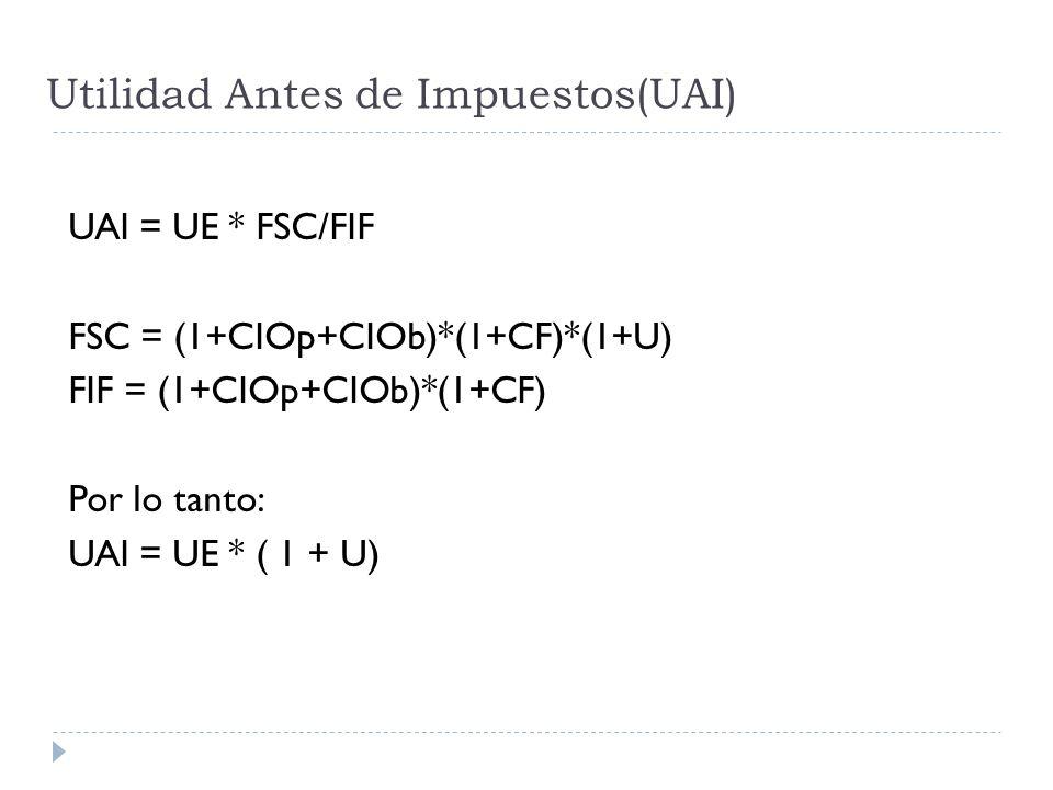 Utilidad Antes de Impuestos(UAI) UAI = UE * FSC/FIF FSC = (1+CIOp+CIOb)*(1+CF)*(1+U) FIF = (1+CIOp+CIOb)*(1+CF) Por lo tanto: UAI = UE * ( 1 + U)