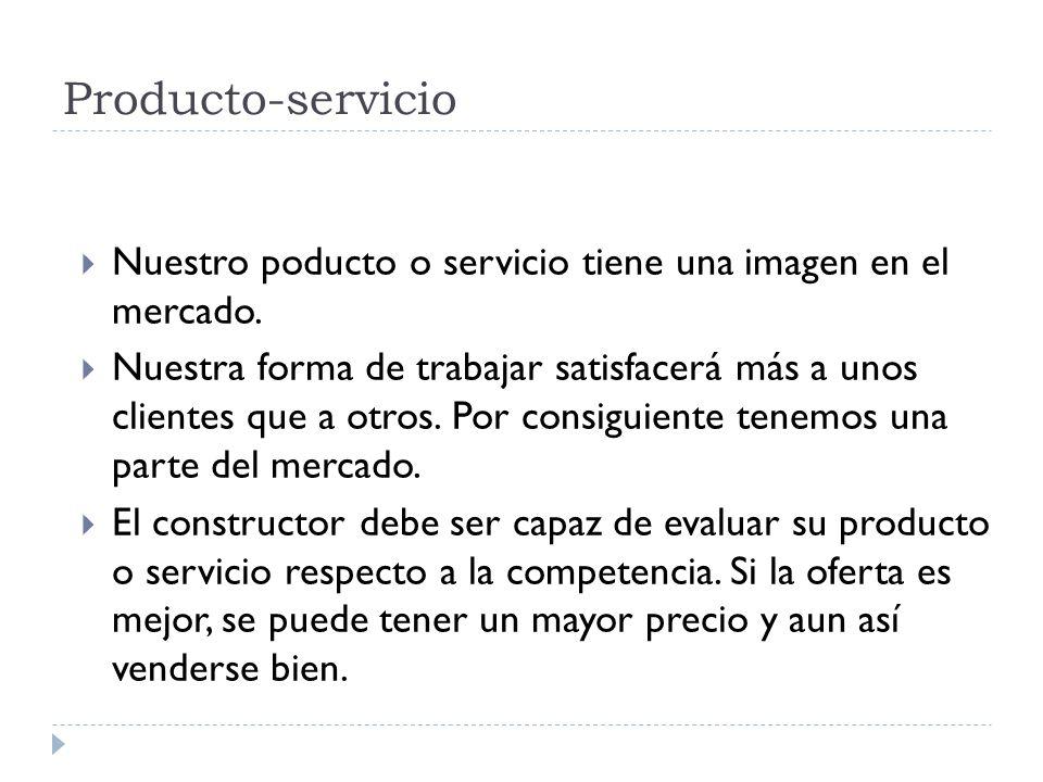 Producto-servicio Nuestro poducto o servicio tiene una imagen en el mercado. Nuestra forma de trabajar satisfacerá más a unos clientes que a otros. Po