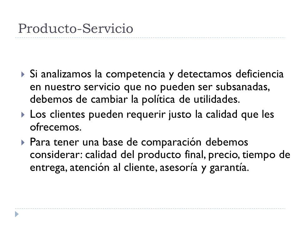 Producto-Servicio Si analizamos la competencia y detectamos deficiencia en nuestro servicio que no pueden ser subsanadas, debemos de cambiar la políti