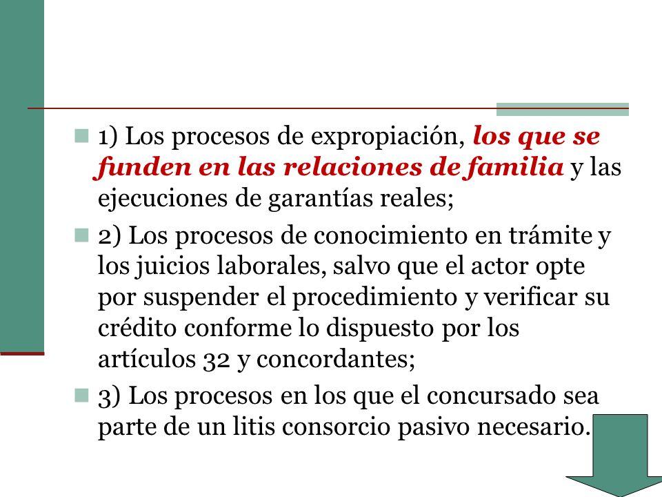 1) Los procesos de expropiación, los que se funden en las relaciones de familia y las ejecuciones de garantías reales; 2) Los procesos de conocimiento en trámite y los juicios laborales, salvo que el actor opte por suspender el procedimiento y verificar su crédito conforme lo dispuesto por los artículos 32 y concordantes; 3) Los procesos en los que el concursado sea parte de un litis consorcio pasivo necesario.