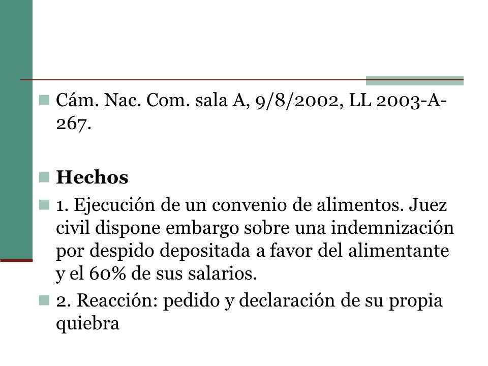 Cám.Nac. Com. sala A, 9/8/2002, LL 2003-A- 267. Hechos 1.