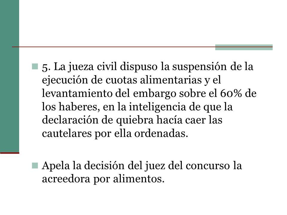 5. La jueza civil dispuso la suspensión de la ejecución de cuotas alimentarias y el levantamiento del embargo sobre el 60% de los haberes, en la intel