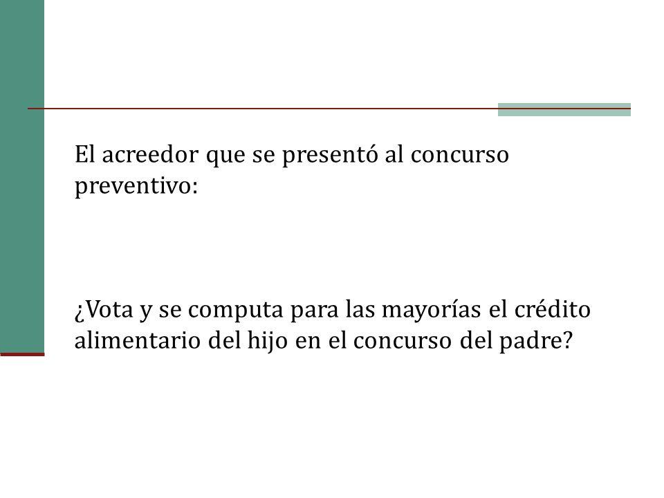 El acreedor que se presentó al concurso preventivo: ¿Vota y se computa para las mayorías el crédito alimentario del hijo en el concurso del padre?