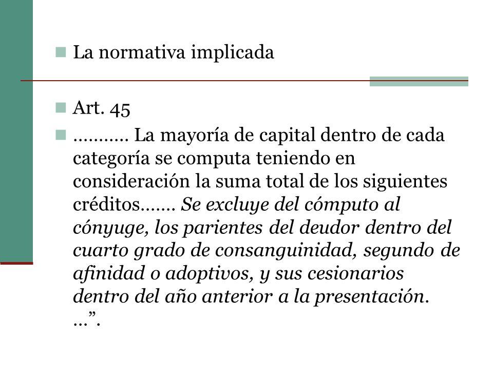 La normativa implicada Art.45 ………..