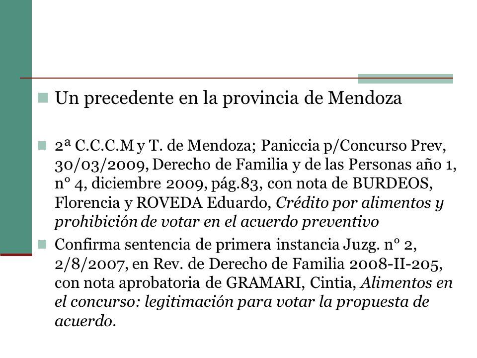 Un precedente en la provincia de Mendoza 2ª C.C.C.M y T.