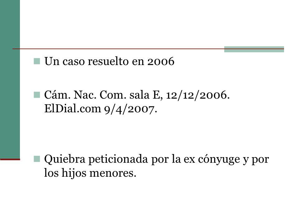 Un caso resuelto en 2006 Cám.Nac. Com. sala E, 12/12/2006.