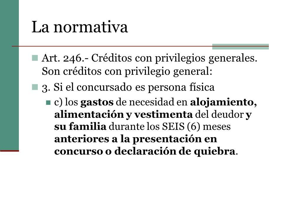 La normativa Art.246.- Créditos con privilegios generales.