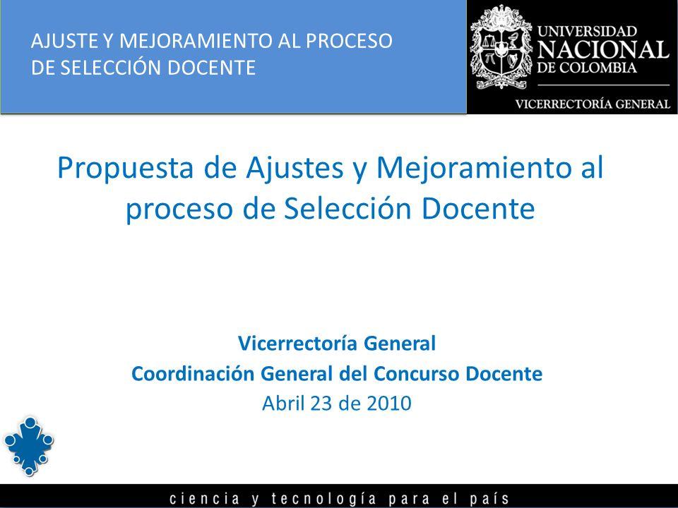 Propuesta de Ajustes y Mejoramiento al proceso de Selección Docente Vicerrectoría General Coordinación General del Concurso Docente Abril 23 de 2010 AJUSTE Y MEJORAMIENTO AL PROCESO DE SELECCIÓN DOCENTE