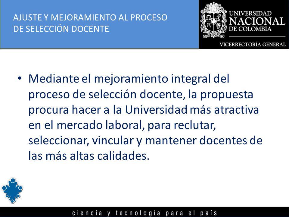 Mediante el mejoramiento integral del proceso de selección docente, la propuesta procura hacer a la Universidad más atractiva en el mercado laboral, p