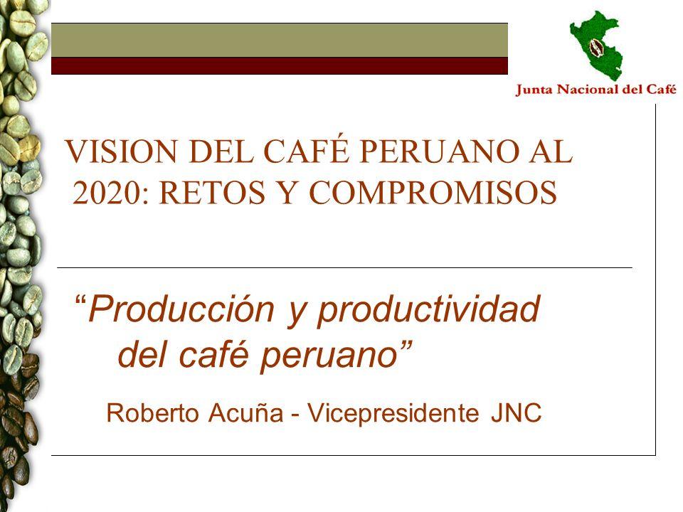 VISION DEL CAFÉ PERUANO AL 2020: RETOS Y COMPROMISOS Producción y productividad del café peruano Roberto Acuña - Vicepresidente JNC