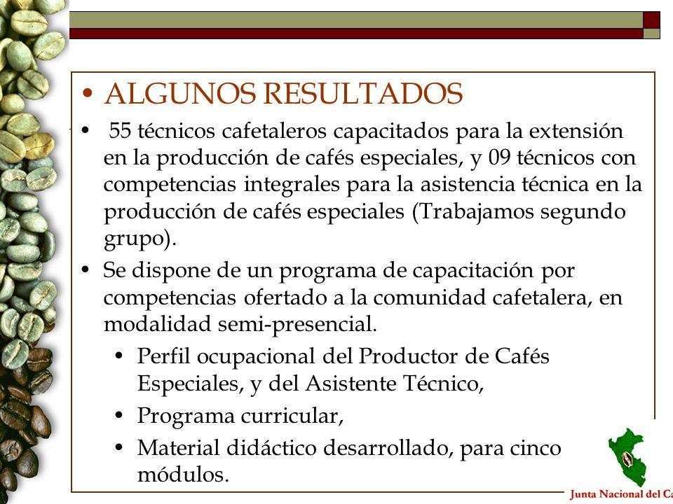 ALGUNOS RESULTADOS 55 técnicos cafetaleros capacitados para la extensión en la producción de cafés especiales, y 09 técnicos con competencias integral