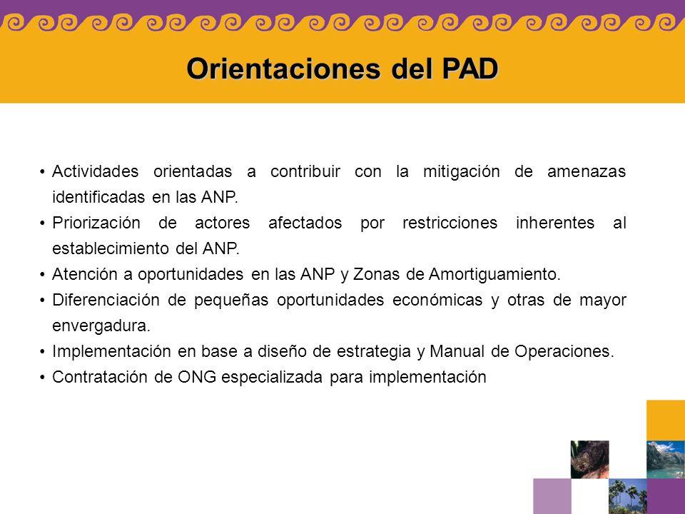 Orientaciones del PAD Actividades orientadas a contribuir con la mitigación de amenazas identificadas en las ANP. Priorización de actores afectados po