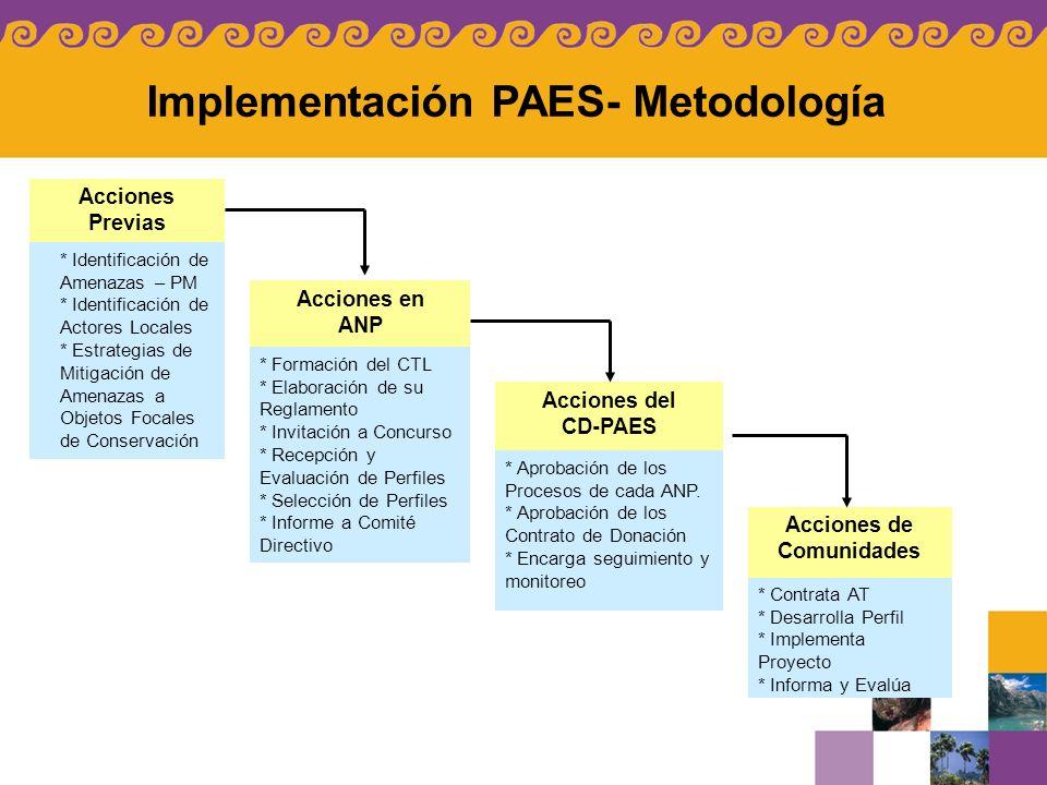 Implementación PAES- Metodología Acciones Previas * Identificación de Amenazas – PM * Identificación de Actores Locales * Estrategias de Mitigación de
