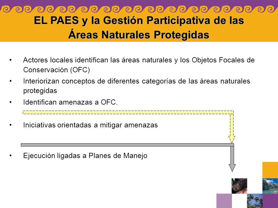 EL PAES y la Gestión Participativa de las Áreas Naturales Protegidas Actores locales identifican las áreas naturales y los Objetos Focales de Conserva