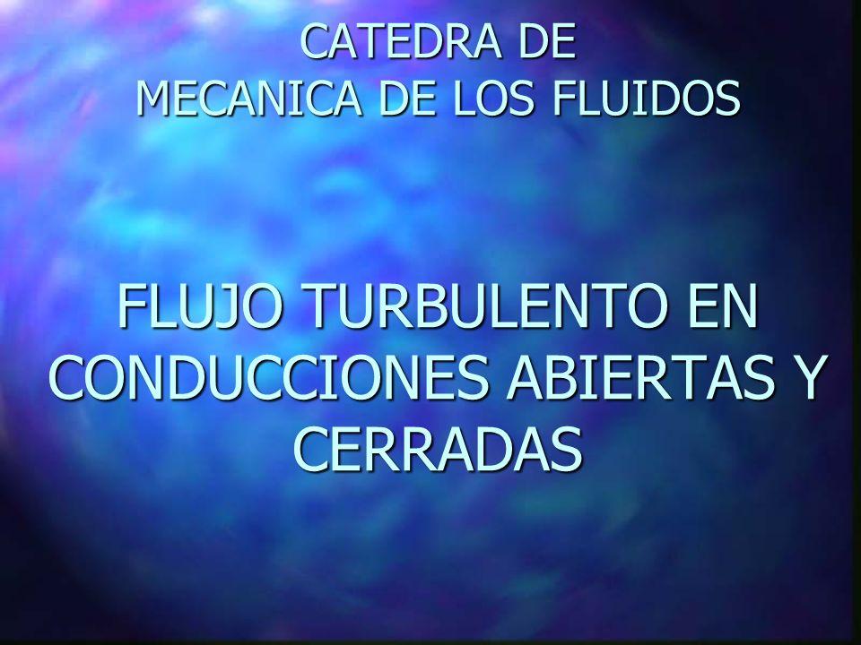 CATEDRA DE MECANICA DE LOS FLUIDOS FLUJO TURBULENTO EN CONDUCCIONES ABIERTAS Y CERRADAS
