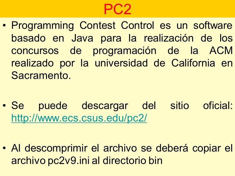 Programming Contest Control es un software basado en Java para la realización de los concursos de programación de la ACM realizado por la universidad