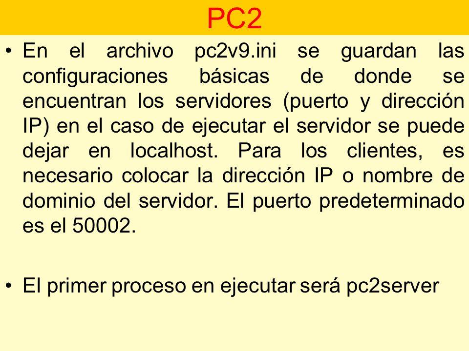En el archivo pc2v9.ini se guardan las configuraciones básicas de donde se encuentran los servidores (puerto y dirección IP) en el caso de ejecutar el