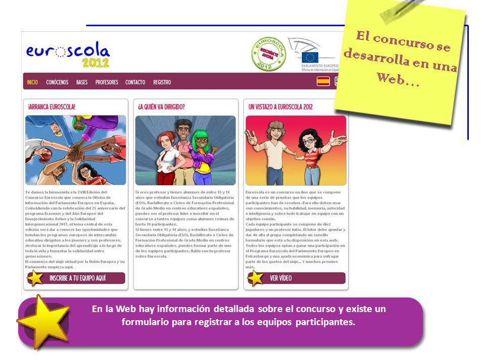 El concurso se desarrolla en una Web… En la Web hay información detallada sobre el concurso y existe un formulario para registrar a los equipos participantes.