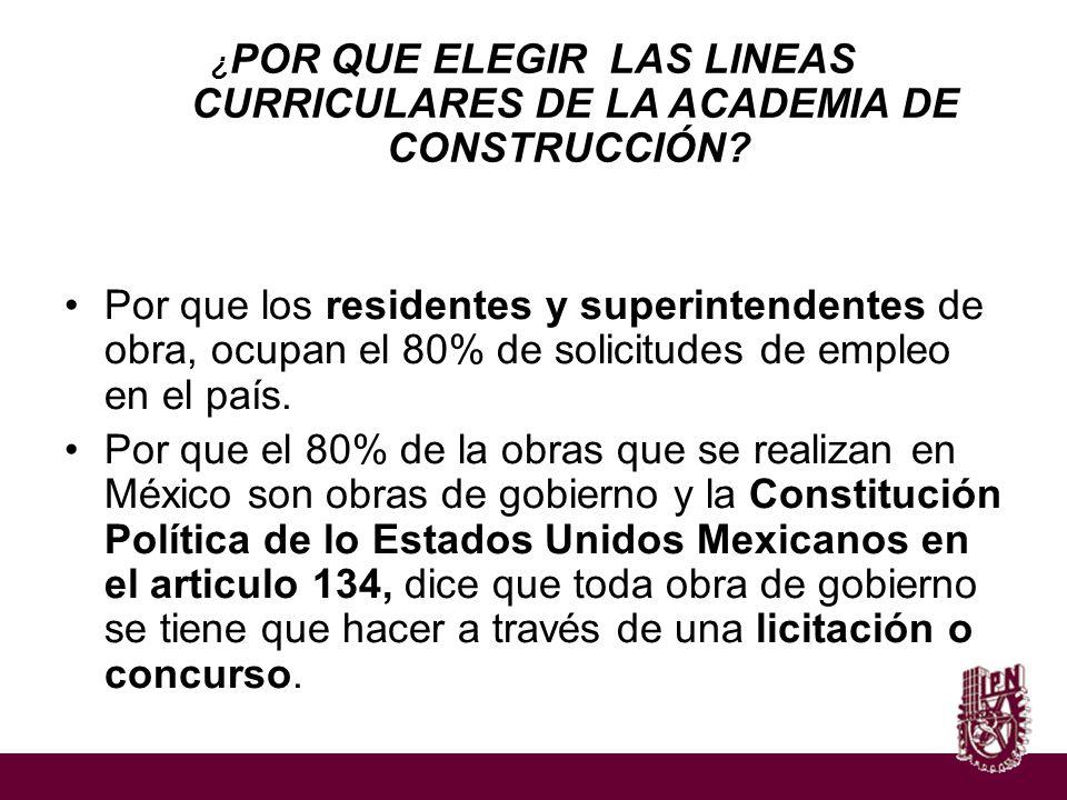 ¿ POR QUE ELEGIR LAS LINEAS CURRICULARES DE LA ACADEMIA DE CONSTRUCCIÓN? Por que los residentes y superintendentes de obra, ocupan el 80% de solicitud