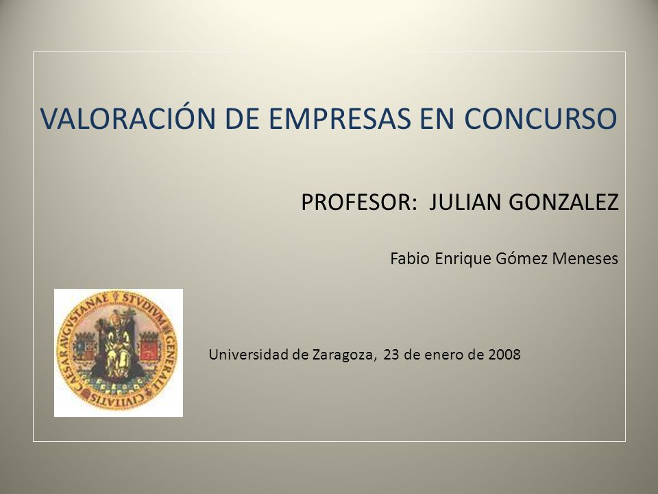 VALORACIÓN DE EMPRESAS EN CONCURSO PROFESOR: JULIAN GONZALEZ Fabio Enrique Gómez Meneses Universidad de Zaragoza, 23 de enero de 2008