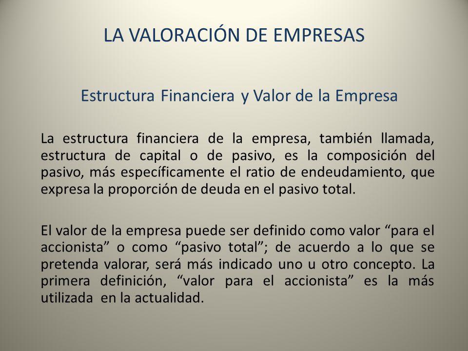 LA VALORACIÓN DE EMPRESAS Estructura Financiera y Valor de la Empresa La estructura financiera de la empresa, también llamada, estructura de capital o
