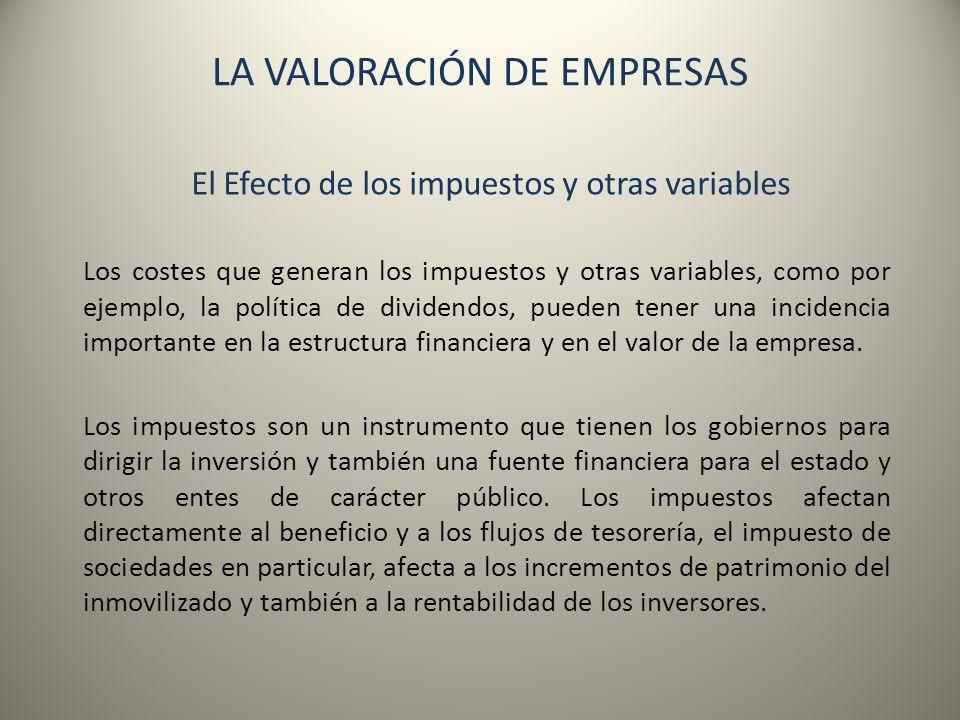 LA VALORACIÓN DE EMPRESAS El Efecto de los impuestos y otras variables Los costes que generan los impuestos y otras variables, como por ejemplo, la po