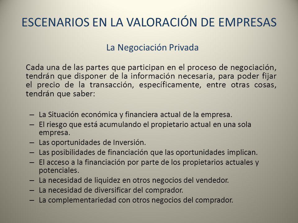 ESCENARIOS EN LA VALORACIÓN DE EMPRESAS La Negociación Privada Cada una de las partes que participan en el proceso de negociación, tendrán que dispone