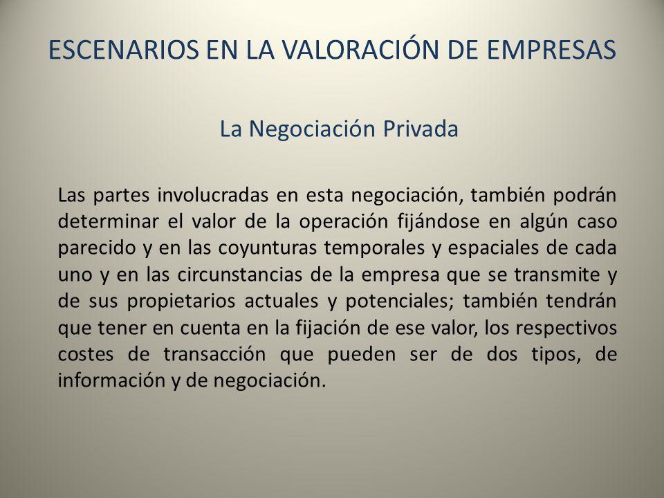 ESCENARIOS EN LA VALORACIÓN DE EMPRESAS La Negociación Privada Las partes involucradas en esta negociación, también podrán determinar el valor de la o
