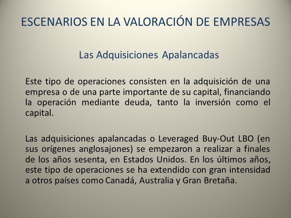 ESCENARIOS EN LA VALORACIÓN DE EMPRESAS Las Adquisiciones Apalancadas Este tipo de operaciones consisten en la adquisición de una empresa o de una par