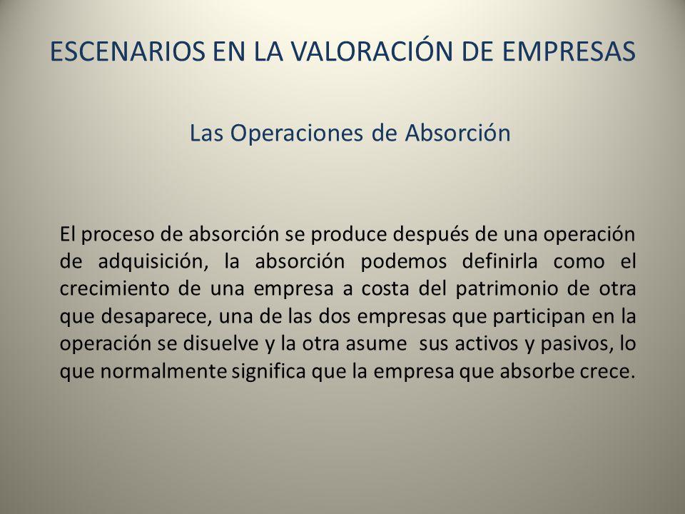 ESCENARIOS EN LA VALORACIÓN DE EMPRESAS Las Operaciones de Absorción El proceso de absorción se produce después de una operación de adquisición, la ab
