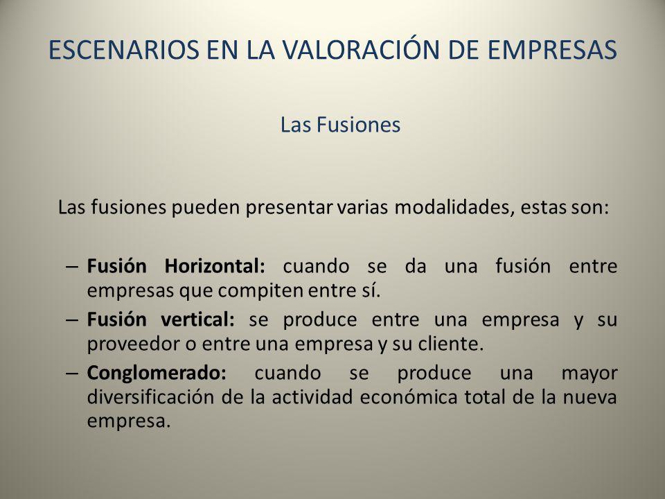 ESCENARIOS EN LA VALORACIÓN DE EMPRESAS Las Fusiones Las fusiones pueden presentar varias modalidades, estas son: – Fusión Horizontal: cuando se da un