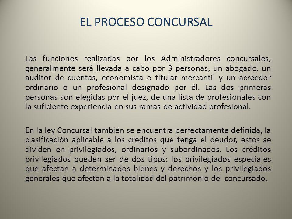 EL PROCESO CONCURSAL Las funciones realizadas por los Administradores concursales, generalmente será llevada a cabo por 3 personas, un abogado, un aud