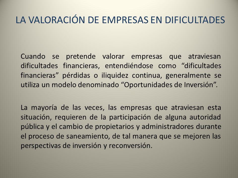 LA VALORACIÓN DE EMPRESAS EN DIFICULTADES Cuando se pretende valorar empresas que atraviesan dificultades financieras, entendiéndose como dificultades
