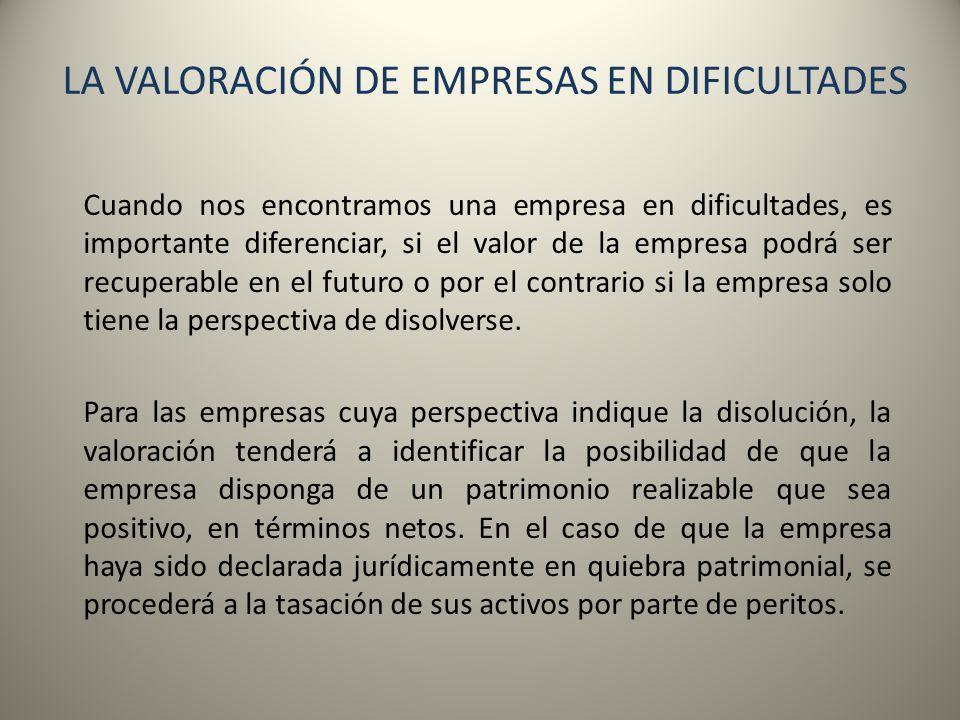 LA VALORACIÓN DE EMPRESAS EN DIFICULTADES Cuando nos encontramos una empresa en dificultades, es importante diferenciar, si el valor de la empresa pod