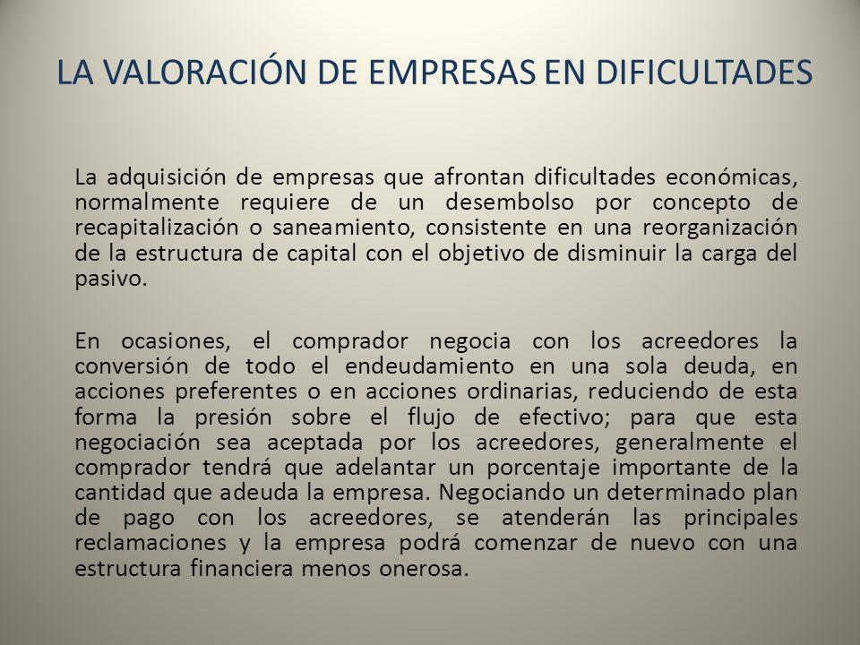 LA VALORACIÓN DE EMPRESAS EN DIFICULTADES La adquisición de empresas que afrontan dificultades económicas, normalmente requiere de un desembolso por c