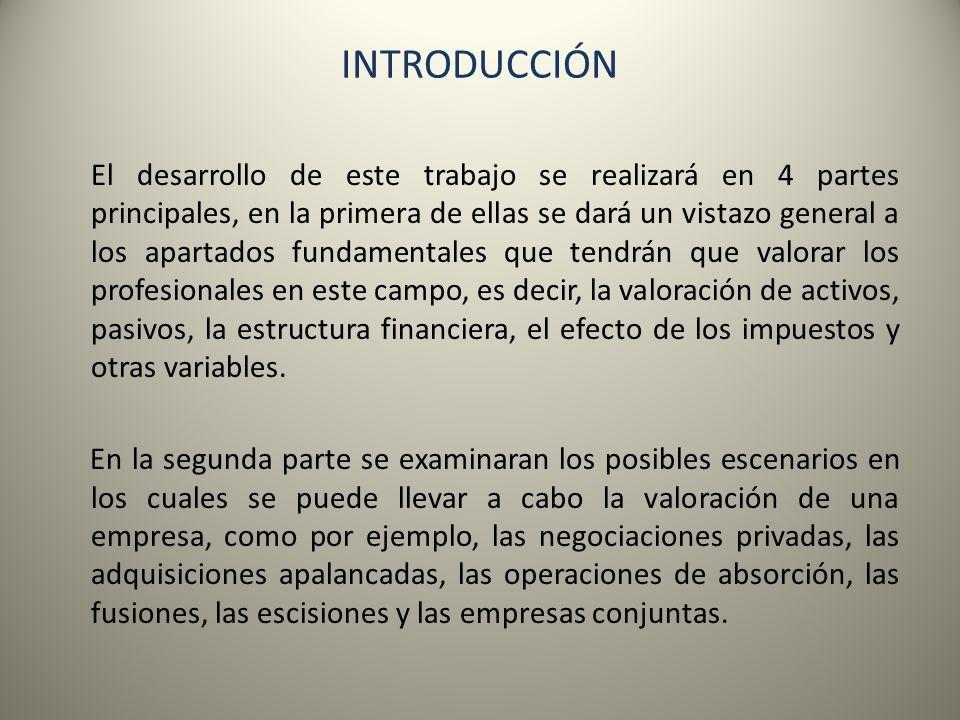 INTRODUCCIÓN El desarrollo de este trabajo se realizará en 4 partes principales, en la primera de ellas se dará un vistazo general a los apartados fun